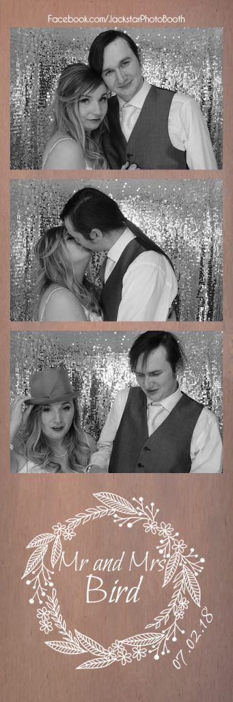 The newly married Mr and Mrs Bird in our Photo Booth