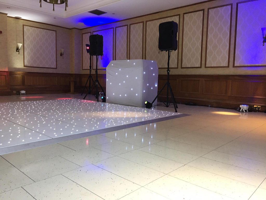 a wedding DJ and dance floor set up at Quorn Country Hotel