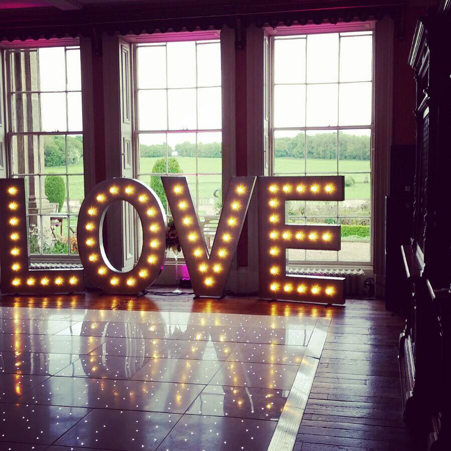 5ft LOVE Letters & Dance Floor at Prestwold Hall