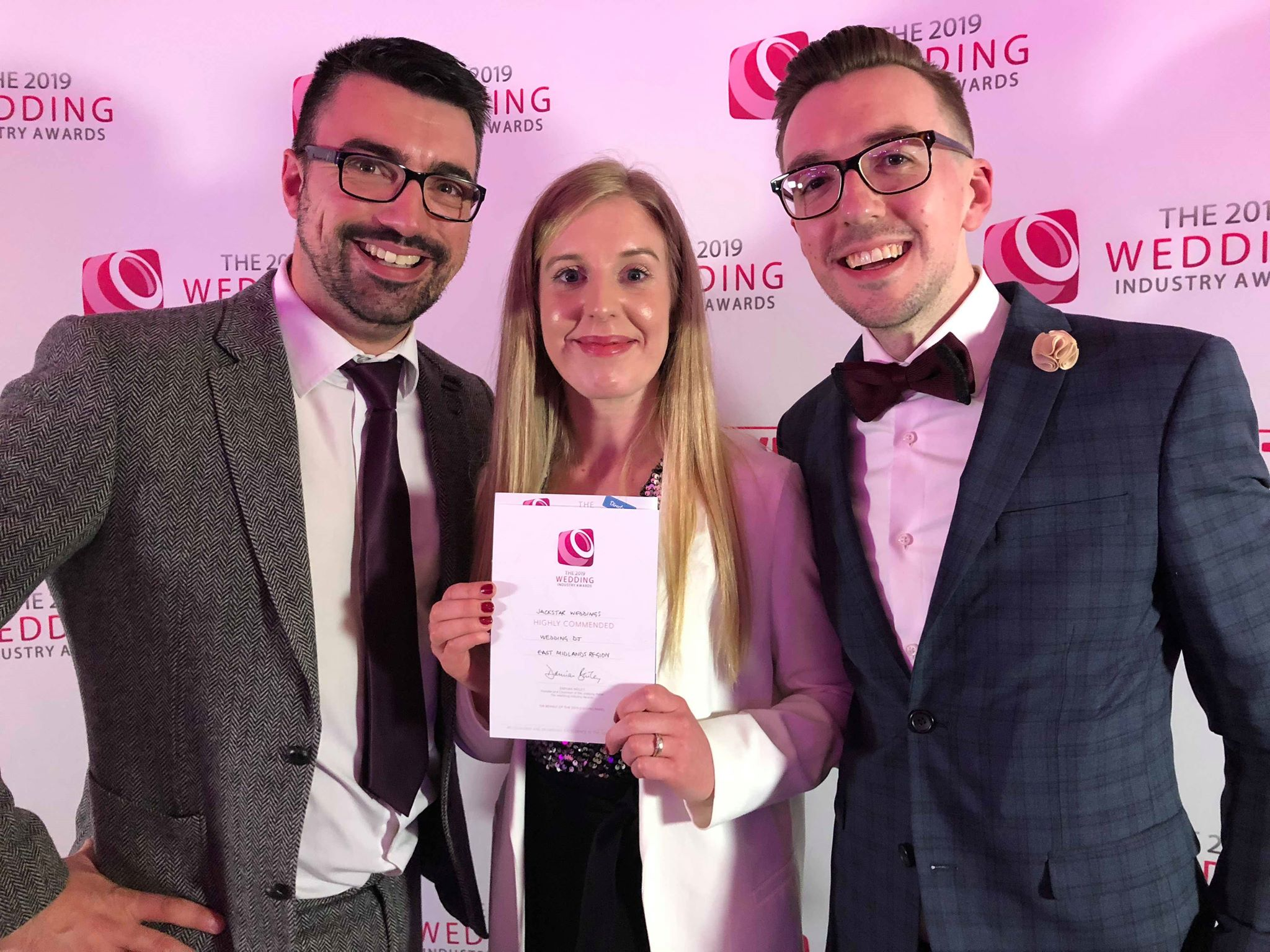 DJ Tom with Louise and Jack at the Wedding Industry Awards