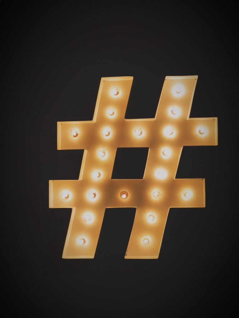 wedding hashtag social media light up