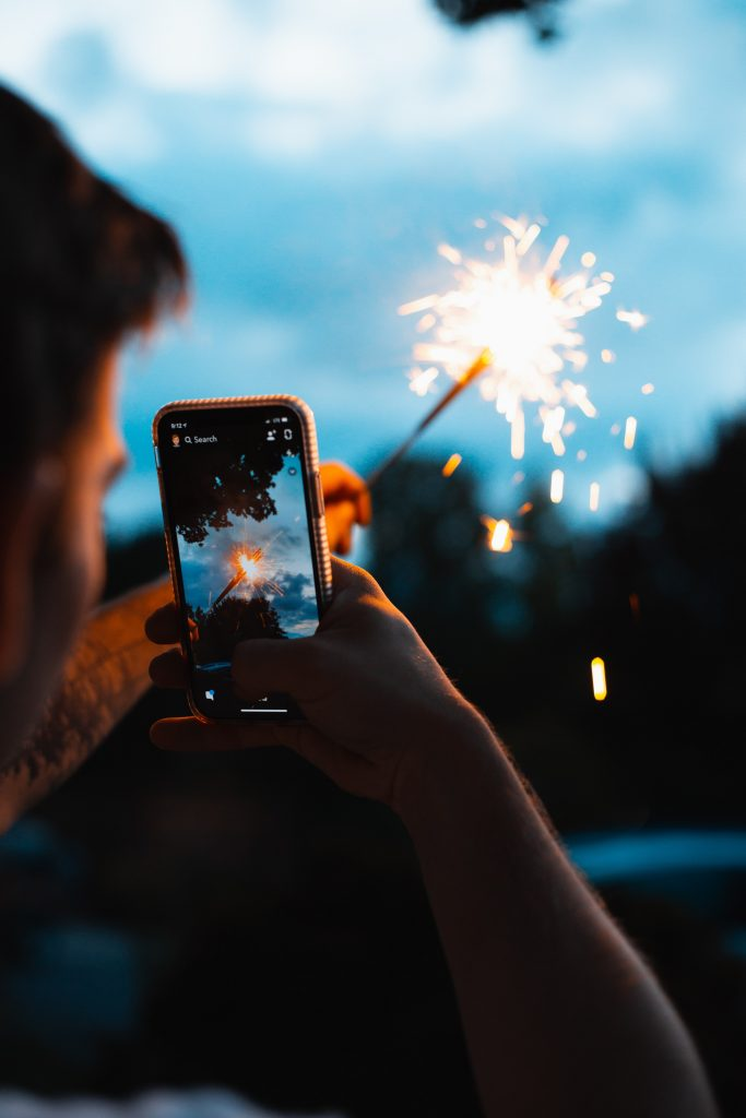 wedding hashtag social media phone sparkler