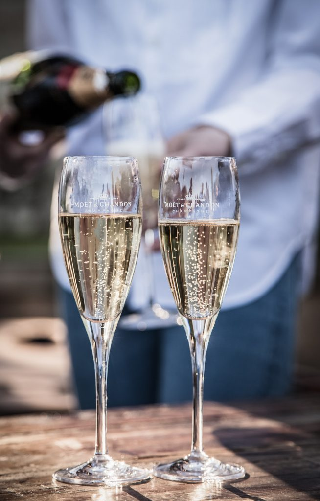Two glasses of prosecco for wedding toasts
