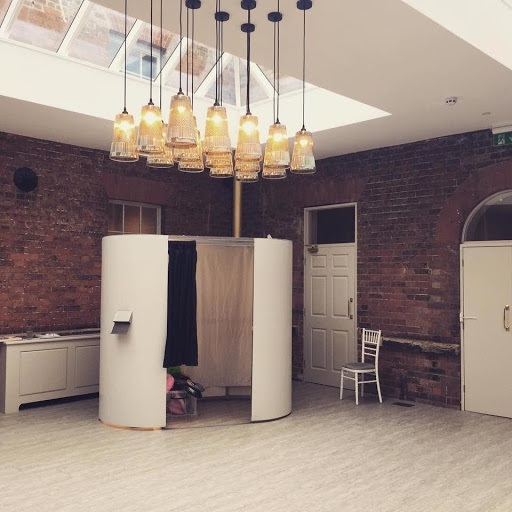 White photo booth at winstanley house wedding in Leicestershire