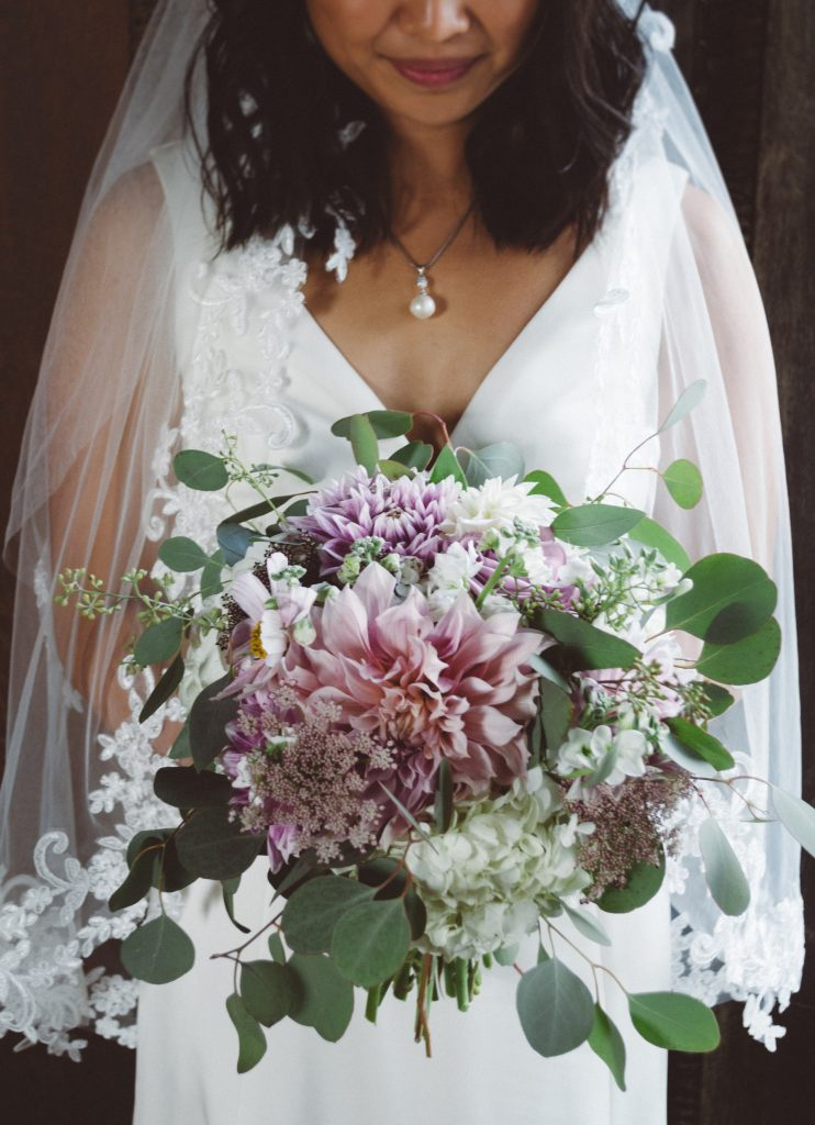 Bride holding floral bouquet on wedding day