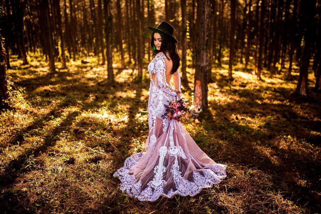 Rustic Woodland Bride in Wedding Dress