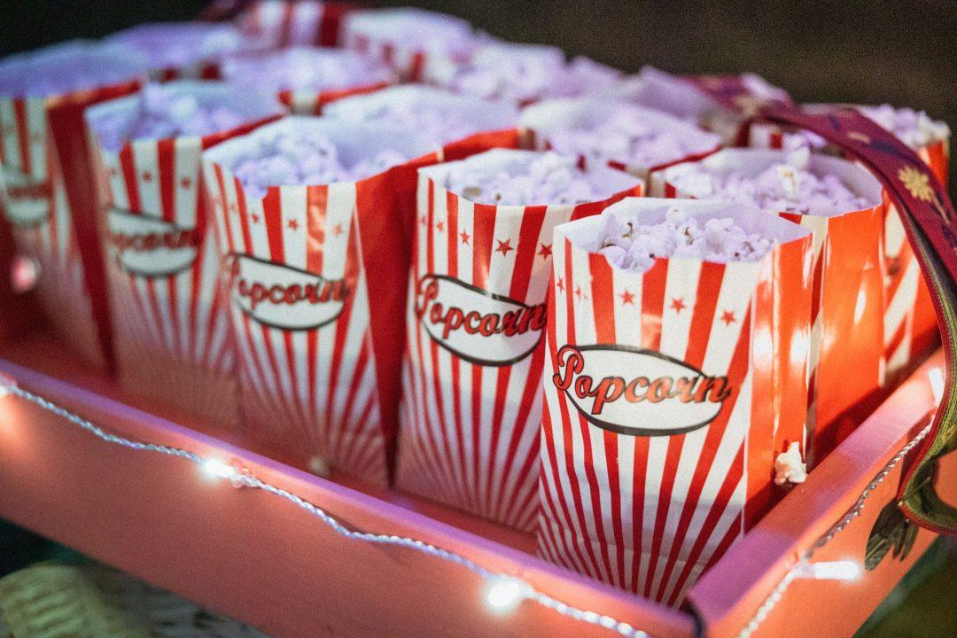 Sweet wedding treats - tray of popcorn