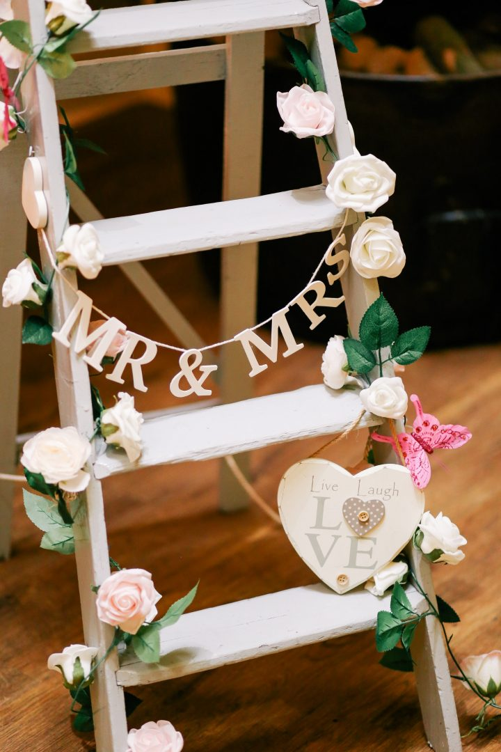 Rustic wooden ladder for wedding decoration