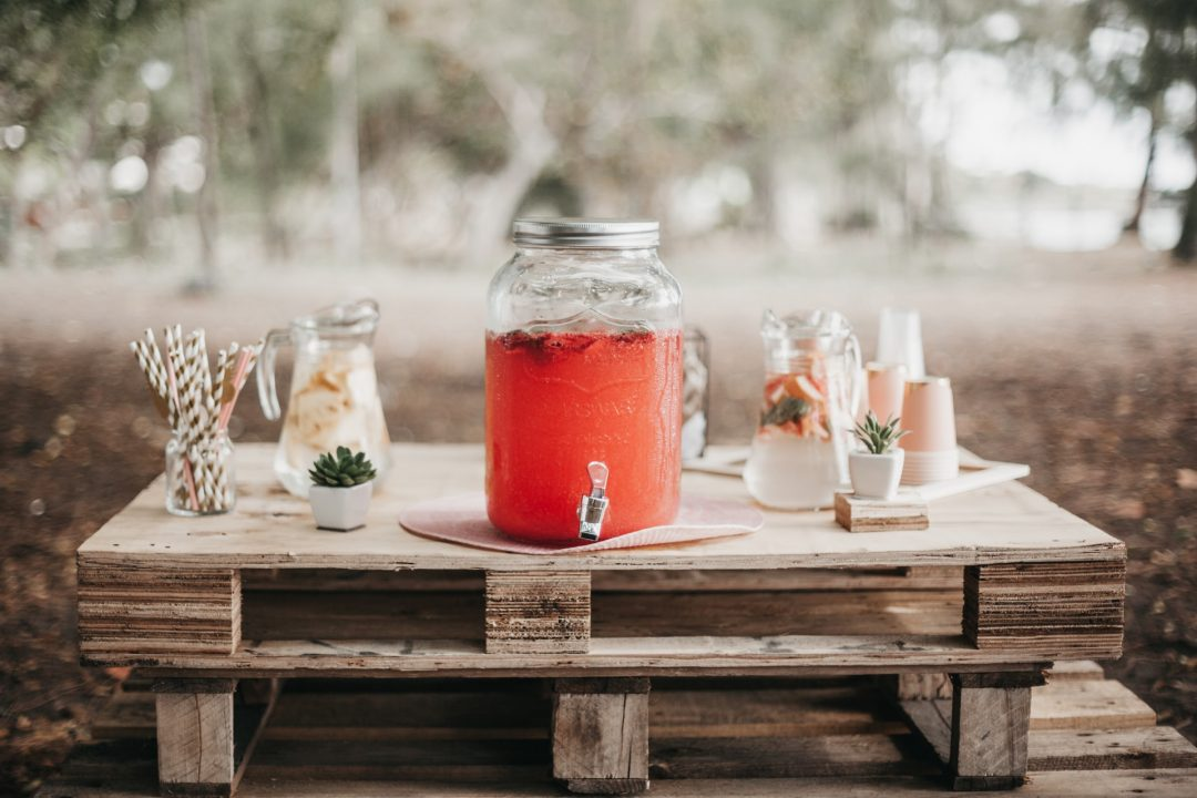 Rustic Wedding Drinks Reception Fruit Punch