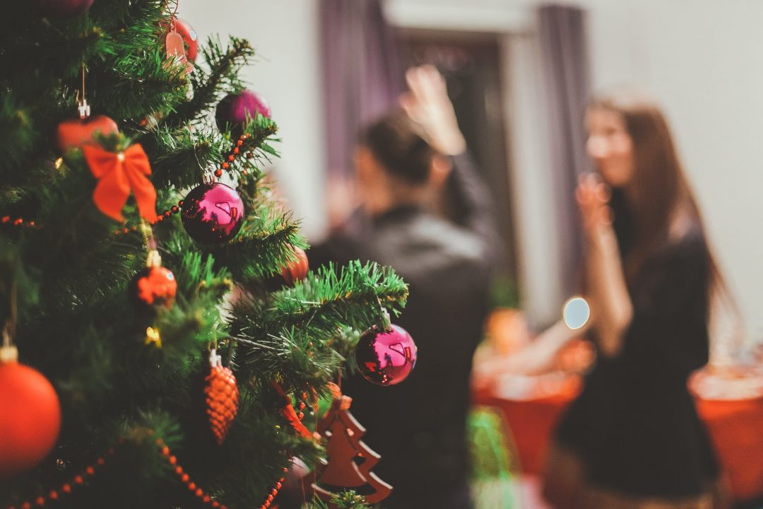 Christmas Tree Decorations at Winter Wedding Party