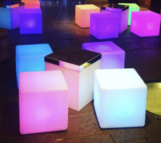 Colourful LED Cube Seating