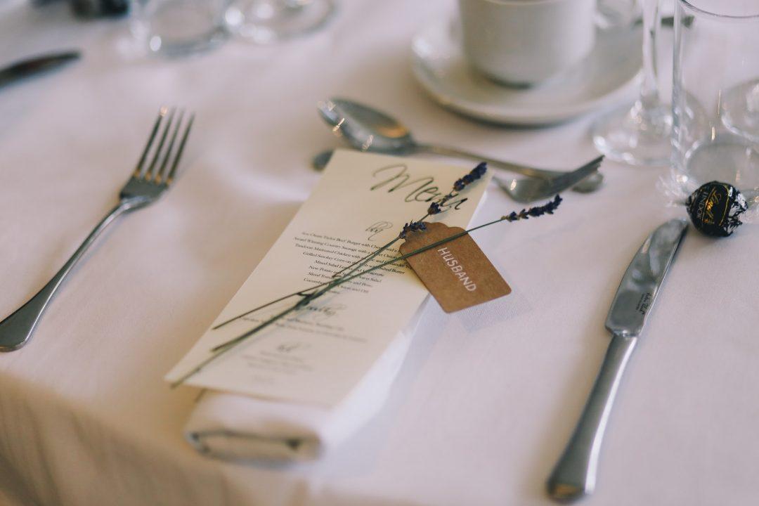 Minimalist Rustic table setting for a wedding breakfast
