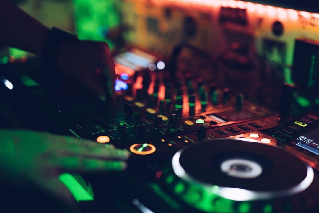 Wedding DJ mixing desk in DJ Booth