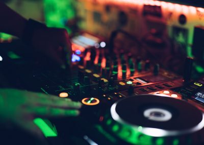 Wedding DJ mixing desk in DJ Booth