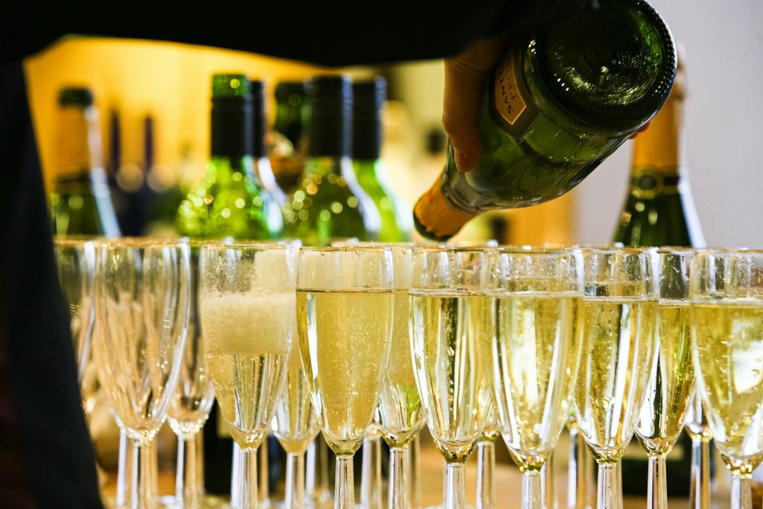 Glasses of Prosecco Lined up for wedding drinks reception