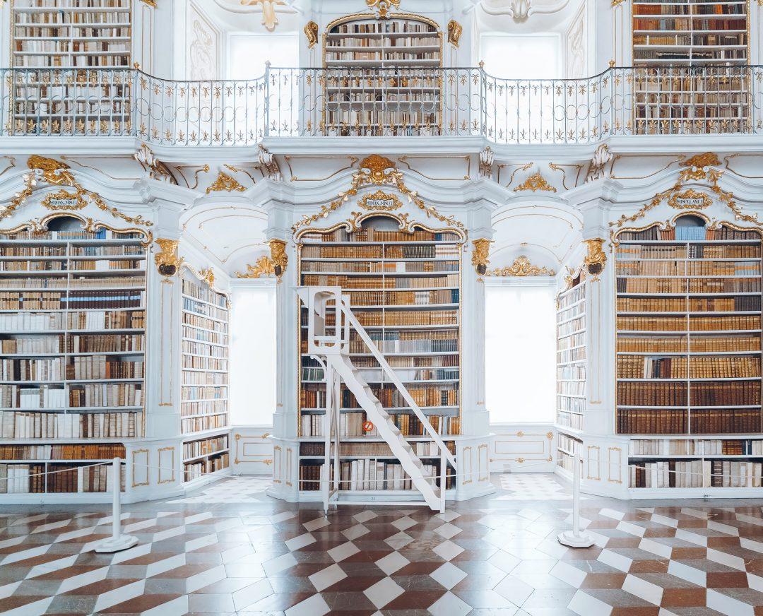 White Library Book Shelf Wedding Backdrop
