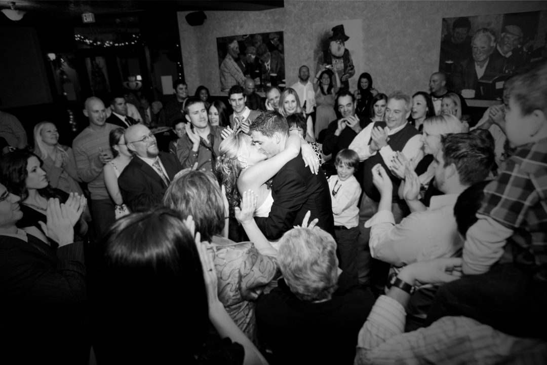 Wedding reception first dance with guests