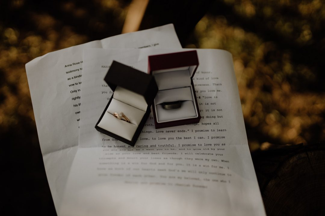 Wedding rings in boxes with vows printed on white paper