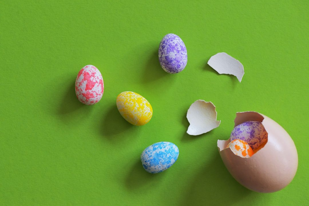colourful easter egg wedding favours