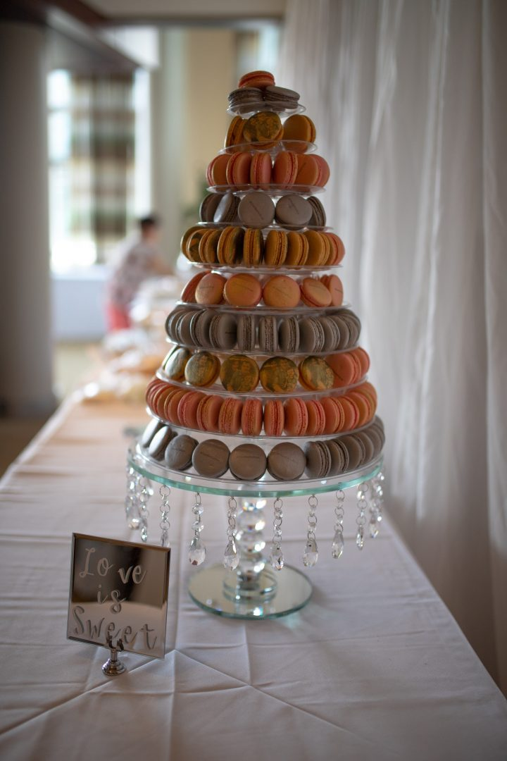Get creative with the cake - epic wedding cake stand full of macaroons