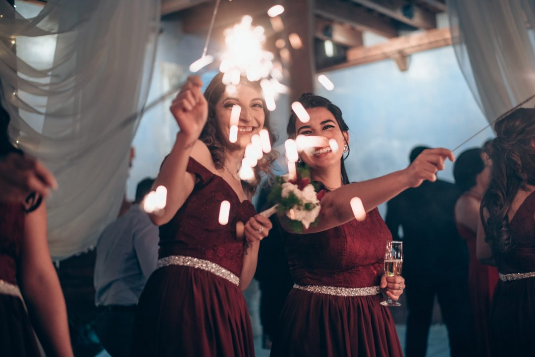 Epic wedding guests with sparklers