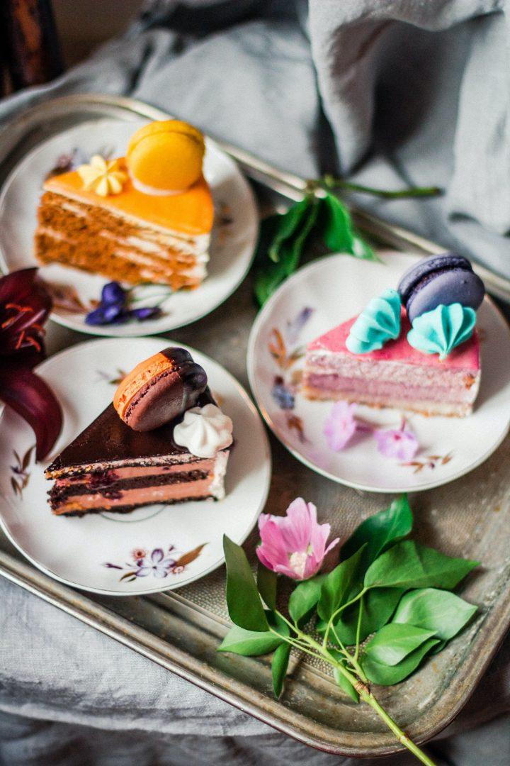Wedding cake dessert trio platter