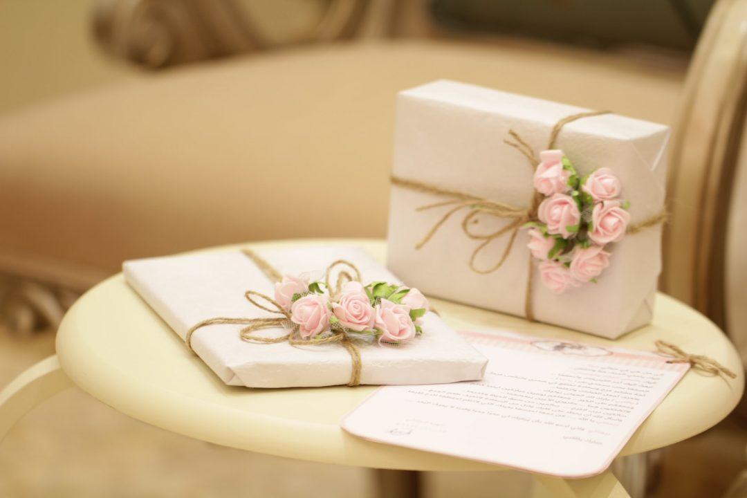 Elegantly wrapped wedding day gifts