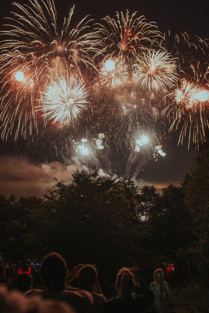 Celebrating with Fireworks on wedding night