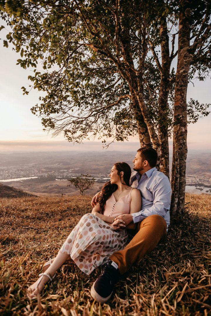 Future bride and groom enjoy woodland setting photo shoot ahead of wedding day