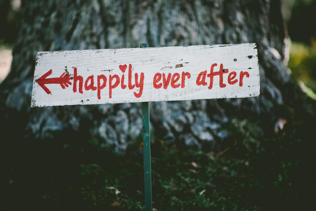 Rustic painted happily ever after wedding sign