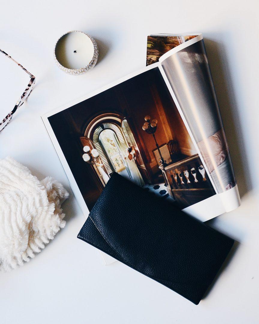 Wedding magazines open on desk